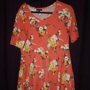 J is for Justify Orange Flower Dress XL